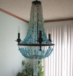 Sea Glass Chandelier Coastal Decor Beach Glass Design Lighting  Fixture