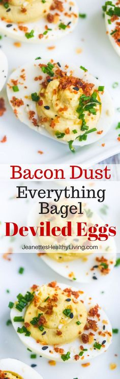 Bacon Dust Everything Bagel Deviled Eggs - party pleaser - stunning and delicious! Bacon Dust Everything Bagel Deviled Eggs - party pleaser - stunning and delicious! Best Egg Recipes, Bacon Recipes, Easy Dinner Recipes, Appetizer Recipes, Breakfast Recipes, Favorite Recipes, Healthy Recipes, Appetizer Party, Wedding Appetizers