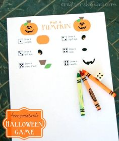 Print out this free Roll-a-Pumpkin game for family night fun, or use it at a classroom Halloween party. A fun and easy Halloween game! Halloween Tags, Childrens Halloween Party, Classroom Halloween Party, Halloween Games For Kids, Halloween Projects, Easy Halloween, Halloween Pumpkins, Halloween Parties, Classroom Crafts