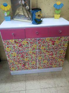 Refinished Dresser White Pink Napkin Drawers Floral