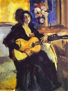 ♪ The Musical Arts ♪ music musician paintings - Constantin Korovin | Lady with guitar, 1911