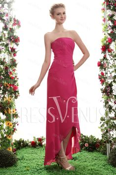 Sheath Column Asymmetry Strapless Prom Bridesmaid Dress Wedding   Events  Šaty Na Výroční Setkání 6dbb39f75d2