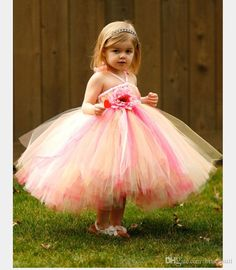 2016 Sweety Colorful Ball Gown Flower Girl Dresses Ankle Length Tiered Tulle Little Girl Dress Wedding Gowns Halter With Hand Made Flower Online with $83.67/Piece on Brucesuit's Store | DHgate.com