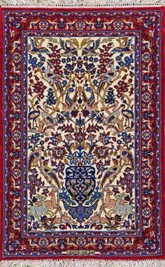 """Esfahan Persian Rug, Buy Handmade Esfahan Persian Rug 2' 4"""" x 3' 7"""", Authentic Persian Rug"""