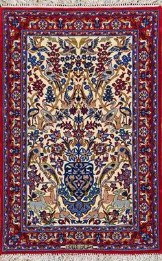 "Esfahan Persian Rug, Buy Handmade Esfahan Persian Rug 2' 4"" x 3' 7"", Authentic Persian Rug"