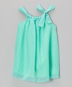 Blueberry Twirl Mint Polka Dot Sydney Dress - Toddler & Girls by Blueberry Twirl #zulily #zulilyfinds
