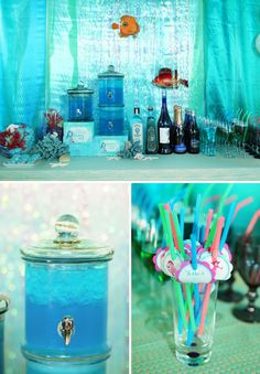 click on link to see several good ideas like irredescent curling ribbon used over the backdrop, sea blue rock candy or maybe colored bath salts used as table topper, ... I like the name cards for straws idea too