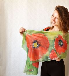 Hand painted silk scarf with poppies. Hand by KatarzynaKaMaART, $67.00