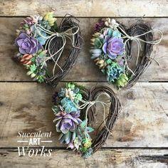 Succulent Heart Wreath 8 Succulent Heart Valentines | Etsy