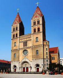 Michael's Cathedral, Qingdao, China, in the German Romanesque style Noraft - Own work Sacred Architecture, Religious Architecture, Qingdao, Find Hotels, Place Of Worship, Romanesque, Places Ive Been, China, St Michael