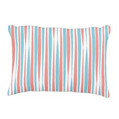 Coral and Teal Brush Stroke Accent Pillow