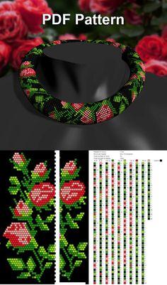 bead crochet necklace pattern, Rose bead necklace tutorial, beading tutorial and pattern, bead jewelry pattern – Seed Bead Tutorials Crochet Necklace Pattern, Beaded Necklace Patterns, Crochet Beaded Bracelets, Bead Crochet Patterns, Beaded Bracelets Tutorial, Bead Crochet Rope, Necklace Tutorial, Beading Patterns, Beads Tutorial
