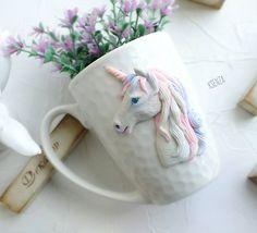 Ещё один единорог. Думала на белом потеряется, ан нет волшебно! Сделано на заказ. #полимернаяглина #пластика #фимо #кружкасдекором #кружканазаказ #ярмаркамастеров #единорог #ручнаяработа #polymerclay #mug #livemaster #handmade #unicorn #fimo