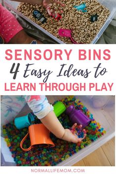 Fun indoor sensory bins for toddlers or preschool aged children. Fun activities and ideas to enhance your sensory bin for toddlers. Play Based Learning, Learning Through Play, Preschool Learning, Learning Activities, Preschool Curriculum, Baby Activities, Teaching Kindergarten, Early Learning, Sensory Boxes