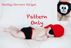 Baby Pirate Crochet PATTERN: Bandana, Diaper Cover, Skull, and Eye Patch. $5.49, via Etsy.