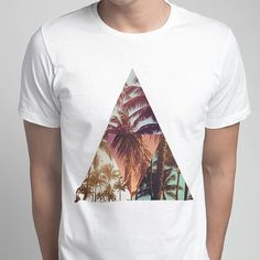 Men's Bermuda Palm Triangle Printed T-Shirt by ZELLE