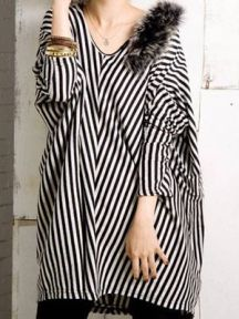 Black Simple Loose V Neck Striped Shirt