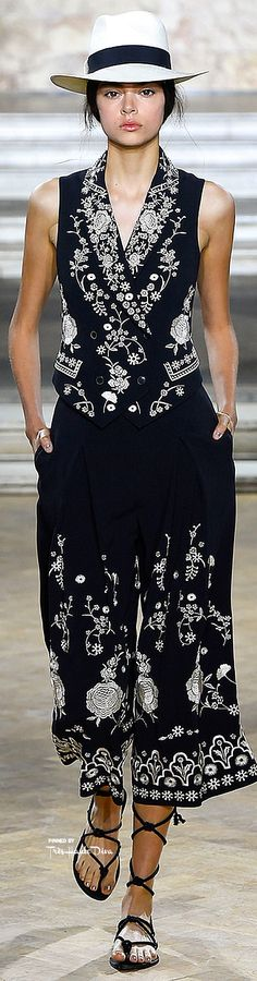 Temperly London ~ Black + White Floral Print Vest with Cropped Trousers, Spring 2016