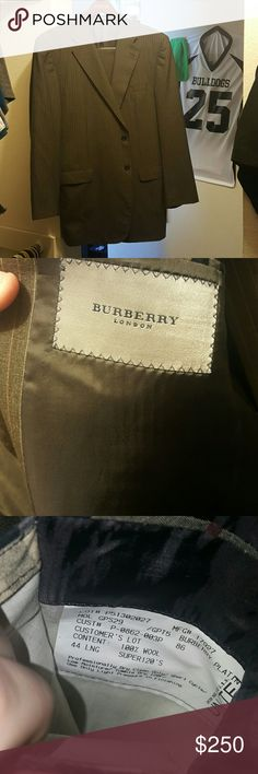 Burberry London Suit A spotless Mens suit from Burberry London. Comes with Pants as well. Basically brand new with no tags. Inside suit jacket tag says 44 LNG. Pants arent listed but fit me perfectly at 6 feet tall. Can easily be tailored Burberry Suits & Blazers Suits