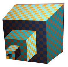 Victor Vasarely, Felhoe (1989), Painted Wood, 39 × 40 × 5 cm
