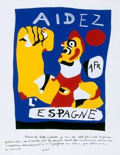 """""""Aidez, l'Espagne"""" by Joan Miro - design for a french anti-fascist pamphlet."""