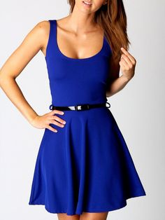 3c0db0bf24b New at Lazaara the Royalblue Sleeveless Skater Mini Dress With Belt for  only 12