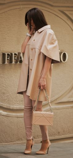 Beige leather trench-coat and leather leggins by ADAMOFUR Leather Trench Coat, Leather Jacket, Leather Fashion, Fur, Street Style, Beige, Shirt Dress, Jackets, Shirts