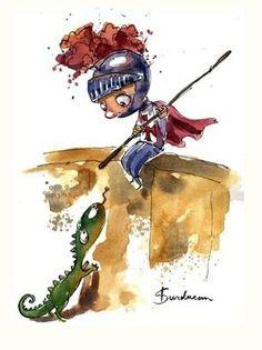 Brushstrokes in the world: Illustrations of St. George & the dragon Big Dragon, Dragon Art, Saint George And The Dragon, Mythical Dragons, Cute Dragons, Fantastic Art, Chalk Art, Cute Illustration, Cute Art