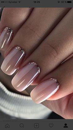 Pink nail polish with glitter nail art - Nageldesign - Nail Art - Nagellack - Nail Polish - Nailart - Nails - Makeup Light Colored Nails, Light Nails, Gorgeous Nails, Pretty Nails, Pretty Toes, How To Do Nails, My Nails, S And S Nails, Gel Nails With Tips