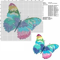 A multicoloured butterfly free pcstitch cross stitch pattern