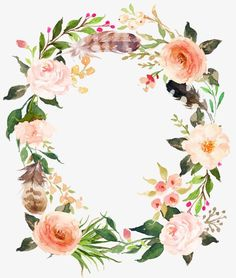 Fresh pink flowers garland,Watercolor flowers,Feather wreath,Retro flowers feathers