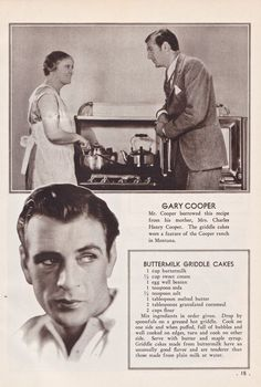 Gary Cooper's Buttermilk Griddle Cakes #Vintage Recipe - recipe is from his mother, who served it regularly at the family ranch.