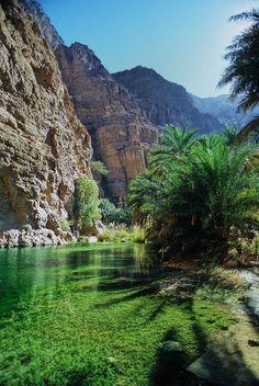Beautiful emerald waters of Wadi Tiwi Oasis in eastern Oman (by mabut).