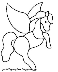 painting on glass,free stained glass pattern,etched glass,glass design. Sailor Moon Coloring Pages, Unicorn Coloring Pages, Stained Glass Patterns Free, Stained Glass Projects, Glass Painting Designs, Paint Designs, Plush Horse, Crochet Horse, Horse Fly