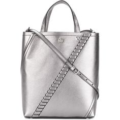 Proenza Schouler Hex shopper tote bag (€975) ❤ liked on Polyvore featuring bags, handbags, tote bags, totes, metallic, white leather purse, leather handbags, white leather handbags, leather shopper tote and leather tote shopper