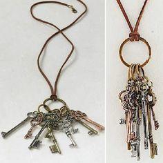 Leather Tri Tone Skelton Keys Necklace