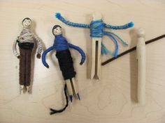 "bathroom pass Worry Dolls: Clothes pin, yarn, skinny markers. black sand for hair. ""Silly Billy"" is the book sculpture craft toy"