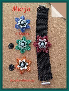 """Merja teki """"Vaihtelu virkistää"""" nimisen rannekorun. Nimi kuvaa hyvin rannekorua. Tässä on todella hyvä idea miten yhdestä rannekorusta saa monta eri versioita. Kukat kiinnitetään nepparilla. Todella hyvin tehty, upeat kukat ja mahtava idea. Kiitos kuvasta. Seed Bead Jewelry, Seed Beads, Beaded Jewelry, Jewellery, Jewelery, Pearl Jewelry, Jewlery, Bead Jewelry, Beading"""