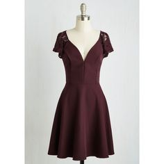 Mid-length Cap Sleeves A-line Festive Flutter Dress ($70) ❤ liked on Polyvore featuring dresses, modcloth, lace cap sleeve dress, a line cocktail dress, deep v neck dress, burgundy lace dress and a line dress