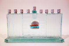 Intertwined Trees Recycled Architectural Glass Modern Menorah