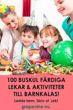 100 lekar till barnkalas. För barn mellan 4-15 r. Allt frn skattjakter till femkamp, poängjakter och mobilskattjakter. Quiz och roliga lekar. 100 Games, Games For Kids, Infant Activities, Educational Activities, Cars Birthday Parties, 5th Birthday, Amazing Race, Instagram And Snapchat, Childrens Party