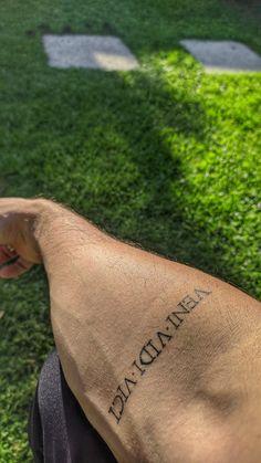 Small Words Tattoo, One Word Tattoos, God Tattoos, Small Quote Tattoos, Small Tattoos For Guys, Baby Tattoos, Above Elbow Tattoo, Elbow Tattoos, Soccer Tattoos