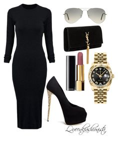 """""""Black"""" by stephaniekitenge on Polyvore featuring Rolex, Ray-Ban, Chanel, Yves Saint Laurent, Giuseppe Zanotti, WithChic, women's clothing, women, female and woman"""