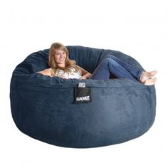 Navy Blue 6-foot Microfiber and Memory Foam Bean Bag - 14281564 - Overstock.com Shopping - Big Discounts on Bean & Lounge Bags