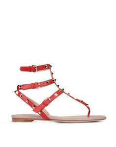 RED Valentino Designer Shoes, Leather Flat Sandals w/Studs