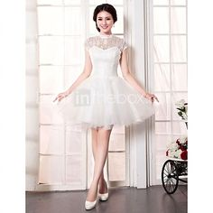 A-line Wedding Dress - White Knee-length High Neck Lace / Tulle - USD $49.99