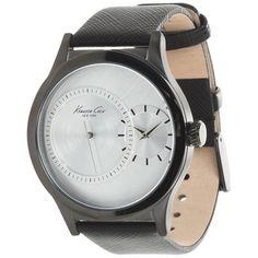 Kenneth Cole Men's KC1892 Black Calf Skin Quartz Watch with White Dial -