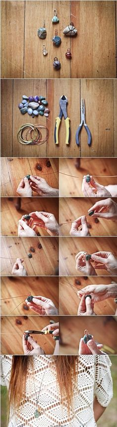 Wire-Wrapped stone necklace tutorial...Its not in english but the pictures are pretty self explanatory.