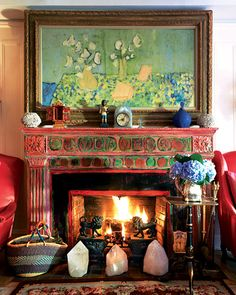 The amazing home of Gloria Vanderbilt featured in NYmag. The painting above the fireplace titled: Objects on Blue and Yellow was made in 1953 by Gloria Vanderbilt. Gloria Vanderbilt, Paint Fireplace, Fireplace Mantels, Fireplaces, Mantles, Fireplace Design, Bohemian Interior, Bohemian Decor, Boho Chic