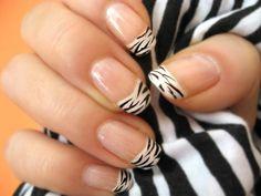 nageldesign bilder schwarz weiß zebra